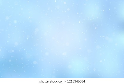 Light BLUE vector texture with colored snowflakes. Snow on blurred abstract background with gradient. The pattern can be used for new year ad, booklets.