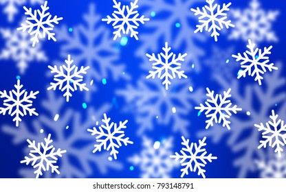 Light BLUE vector texture with colored snowflakes. Snow on blurred abstract background with gradient. The pattern can be used for new year leaflets.
