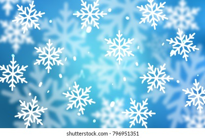 Light BLUE vector texture with colored snowflakes. Glitter abstract illustration with crystals of ice. New year design for your business advert.