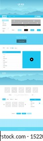 Light BLUE vector ui ux kit with hills and rocks. Web ui kit with abstract gradient hills in its header. Modern template for your landing page.