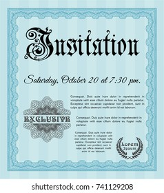 Light blue Vintage invitation. Modern design. Printer friendly. Detailed.