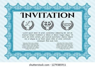 Light blue Vintage invitation template. Artistry design. Vector illustration. With complex background.