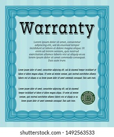 Light blue Vintage Warranty template. Beauty design. Vector illustration. With complex background.