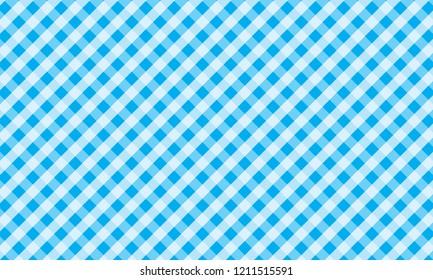 Light blue and white gingham pattern teblechloth.Vector illustration