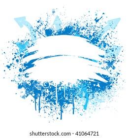 Light blue and white grunge arrow paint splatter design