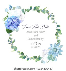 Light blue and white hydrange, succulent, eucalyptus branches vector design round frame. Rustic wedding greenery. Mint, blue tones. Watercolor style card. All elements are isolated and editable