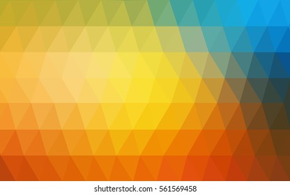 Light Blue Yellow Pattern. Seamless triangular template. Geometric sample. Repeating routine with triangle shapes. Seamless texture for your design. Pattern can be used for background.