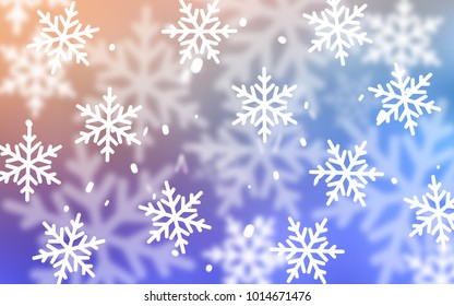 Light Blue, Yellow vector background with xmas snowflakes. Glitter abstract illustration with crystals of ice. The pattern can be used for new year ad, booklets.