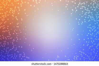 Light Blue, Yellow vector background with galaxy stars. Shining colored illustration with bright astronomical stars. Smart design for your business advert.