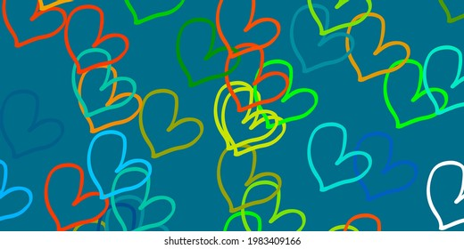 Light Blue, Yellow vector background with Shining hearts. Glitter abstract illustration with colorful hearts in romantic style. Design for ad, poster, banner of Valentine Day.