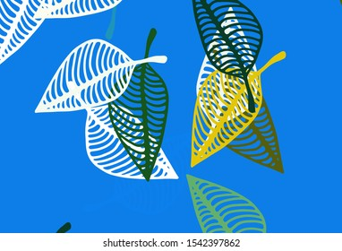 Light Blue, Yellow vector hand painted texture. A vague abstract illustration with leaves in doodles style. Hand painted design for wrapping, wallpaper.