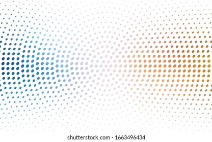 Light Blue, Yellow vector illustration which consist of circles. Dotted gradient design for your business. Creative geometric background in halftone style with colored spots.
