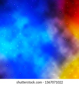 Light Blue, Yellow vector layout with bright stars. Colorful illustration with abstract gradient stars. Design for your business promotion.