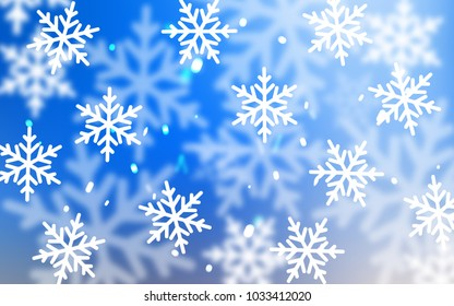 Light Blue, Yellow vector pattern with christmas snowflakes. Decorative shining illustration with snow on abstract template. The template can be used as a new year background.