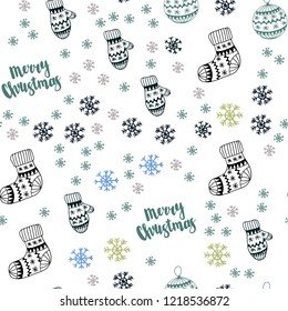 Light Blue, Yellow vector seamless background with xmas snowflakes, balls, socks, mittens. Colorful decorative design in xmas style. Pattern for trendy fabric, wallpapers.