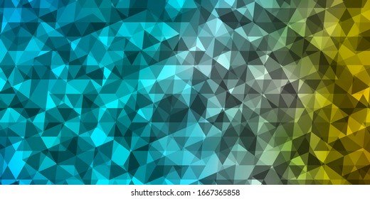 Light Blue, Yellow vector template with crystals, triangles. Illustration with set of colorful triangles. Template for landing pages.