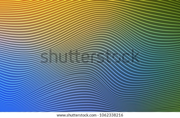 Light Blue, Yellow vector template with curved lines. Blurred geometric sample with gradient.  A new texture for your  ad, booklets, leaflets.