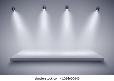 Light box with Black and white platform on with four spotlights. Editable Background Vector illustration.