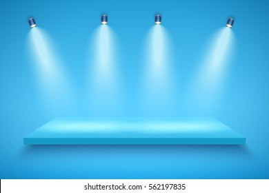 Light box with blue platform on blue backdrop with three spotlights. Mockup and Backdrop. Editable Background Vector illustration.