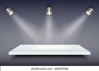 Light box with white presentation platform on dark backdrop with three spotlights. Editable Background Vector illustration.