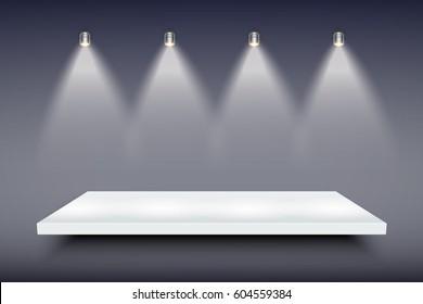 Light box with white presentation platform on dark backdrop with four spotlights. Editable Background Vector illustration.