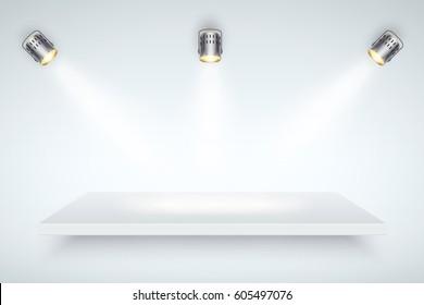 Light box with white presentation platform on light backdrop with three spotlights. Fashion Editable Background Vector illustration.