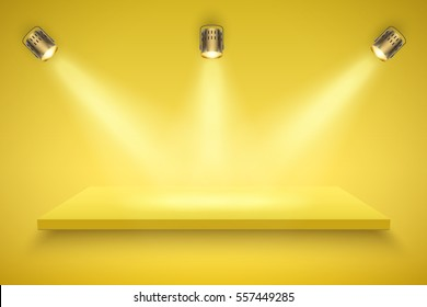 Light box with yellow platform on yellow backdrop with three spotlights. Editable Background Vector illustration.