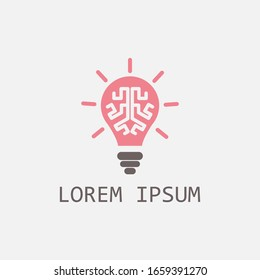 light brain logo simple, modern, clean and neat.