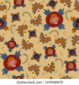 light brown background with blue red orange flowers seamless vector pattern