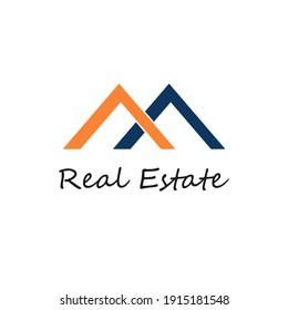 light brown and blue color roof logo design