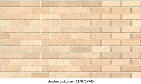 Light brown brick wall abstract background. Texture of bricks. Vector illustration. Template design for web banners