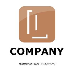 light brown color logo symbol outline line alphabet in square box type letter l initial business logo design idea illustration shape for modern premium corporate