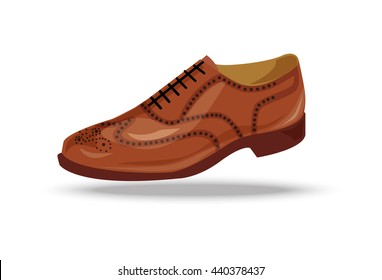 light brown, red oxford shoe. Shoe in retro style,