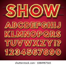 Light Bulb Alphabet with gold frame and shadow on red backgrond. Glowing retro vector font collection with shiny bright lights. ABC and number design for casino, night club or cinema. Layered