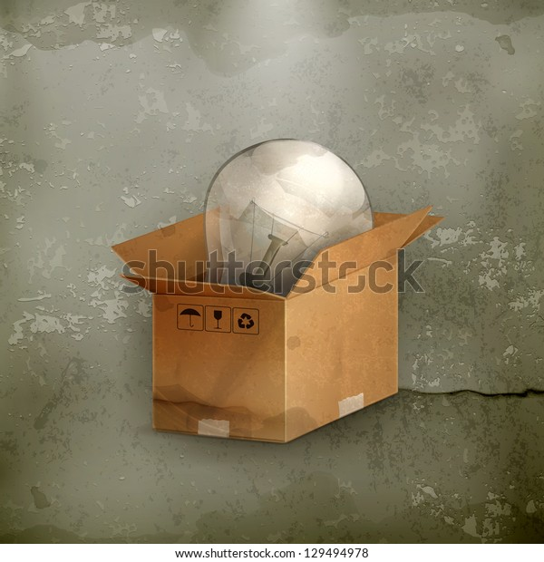 Light bulb in box, old-style vector