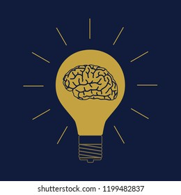 Light bulb with brain in the darkness as symbol creative idea. Brainstorm startup. Invention and inspiration banner. Business concept. Vector illustration