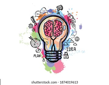 Light bulb with brain and drawing business strategy plan. Sketch brain data and start up concept. Vector illustration in cartoon style.