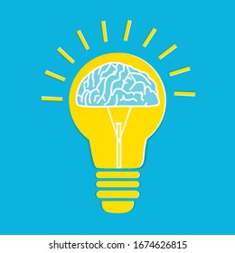 Light bulb with a brain inside, Creative brainstorm concept, business and education idea.