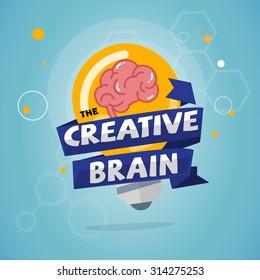 light bulb with brain inside creative brain and idea concept - vector illustration