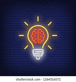 Light bulb with brain neon sign. Idea concept design. Night bright neon sign, colorful billboard, light banner. Vector illustration in neon style.