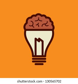 Light bulb with brain vector icon, idea concept