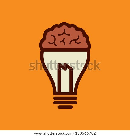 Light bulb with brain vector icon, idea concept