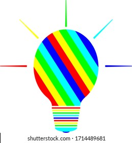 The light bulb with bright colorful stripes. Bright multi-colored light bulb of green, blue, red and yellow. Concept of ideas and creative thinking. Logo for creative and design studios.