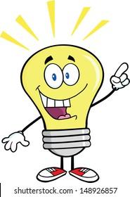 Light Bulb Cartoon Character With A Bright Idea