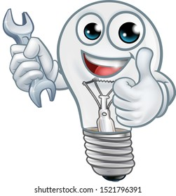 A light bulb cartoon character lightbulb mascot holding a spanner or wrench and giving thumbs up