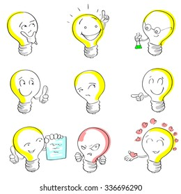 Light Bulb Cartoon Sketch Hand Draw Set Idea Concept Emotion Smile Face Collection Vector Illustration