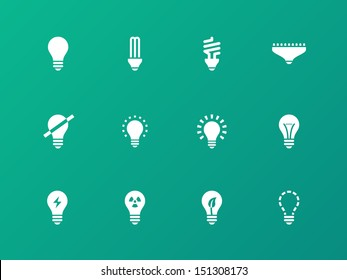 Light bulb and CFL lamp icons on green background. Vector illustration.