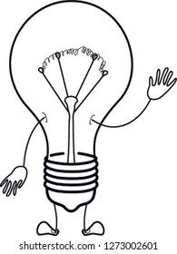 light bulb character cartoon. vector illustration. Logo with a lightbulb in the form of a smiley. Symbol of creativity