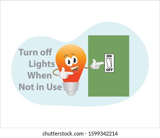 Light bulb character and inscription turn off lights when not in use. vector illustration