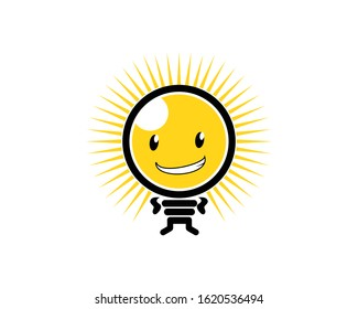 Light bulb character with smile face